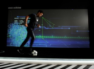 Michael Ballack on The Track at the adidas lab, London. The Track uses real time data visualisation to test a player's game changing ability measuring speed, work rateand control over 15m